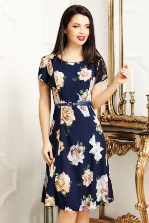 Rochie de zi scurta office bleumarin cu imprimeu floral Lorena pentru femei plinute