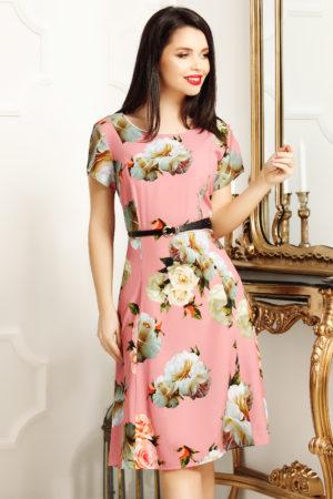 Rochie de zi scurta office roz cu imprimeu floral Lorena pentru femei plinute