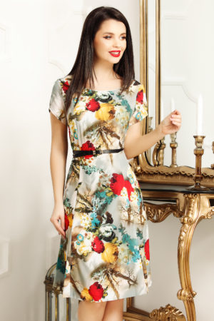 Rochie de zi scurta office cu imprimeu floral Lorena pentru femei plinute