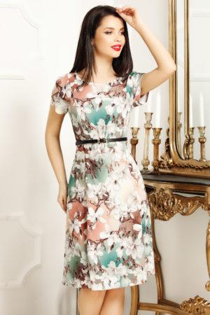 Rochie de zi scurta office alba cu imprimeu floral Lorena pentru femei plinute