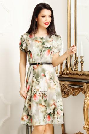 Rochie de zi scurta office vernil cu imprimeu floral Lorena pentru femei plinute