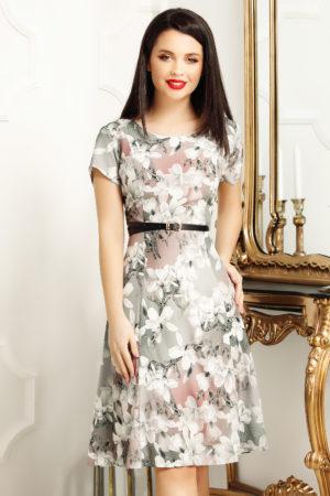 Rochie de zi scurta office pentru femei plinute cu imprimeu floral Lorena