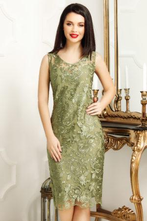 Rochie de ocazie verde masliniu din dantela cu decolteu in V Malvina