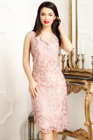 Rochie de ocazie roz deschis din dantela cu decolteu in V Malvina
