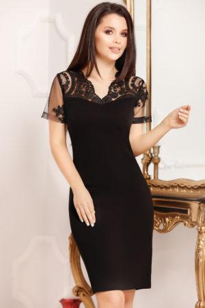Rochie midi neagra conica prevazuta cu maneci scurte din broderie florala Marina