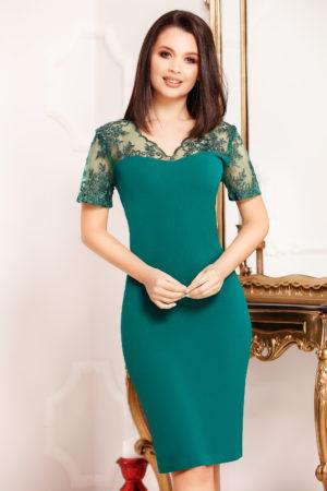 Rochie midi verde conica prevazuta cu maneci scurte din broderie florala Marina