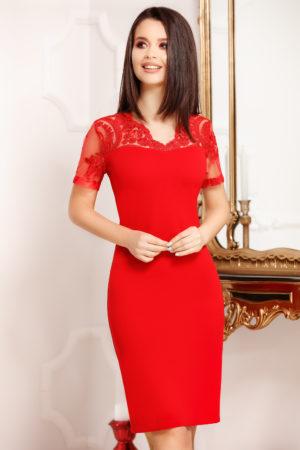 Rochie midi rosie conica prevazuta cu maneci scurte din broderie florala Marina