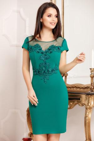 Rochie de seara verde scurta eleganta prevazuta cu dantela si perle Matilda