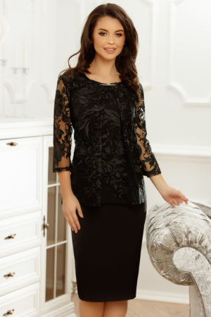 Rochie neagra de seara eleganta cu maneci trei sferturi de dantela Nicole