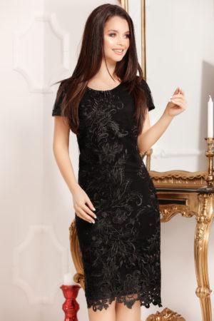 Rochie midi neagra de nunta eleganta din dantela Page pentru femei plinute