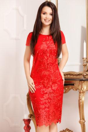Rochie midi rosie de nunta eleganta din dantela Page pentru femei plinute