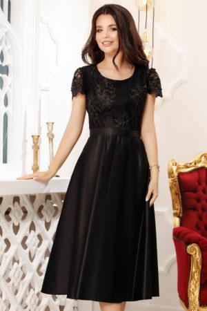 Rochie din tafta neagra pana sub genunchi cu bust accesorizat cu broderie Pamela