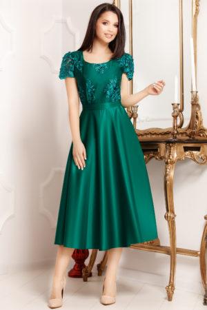 Rochie din tafta verde pana sub genunchi cu bust accesorizat cu broderie Pamela