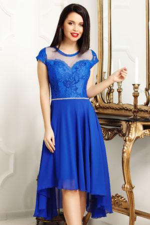 Rochie de seara albastru electric eleganta cu bust de dantela si talie accesorizata cu strass-uri Patty