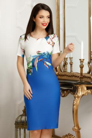 Rochie eleganta midi plus size cu imprimeu floral albastru si decolteu rotund Petra
