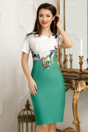 Rochie eleganta midi plus size cu imprimeu floral verde si decolteu rotund Petra