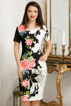 Rochie office scurta de vara neagra cu imprimeu floral colorat Priya