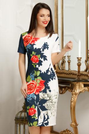 Rochie office scurta de vara bleumarin cu imprimeu floral colorat Priya
