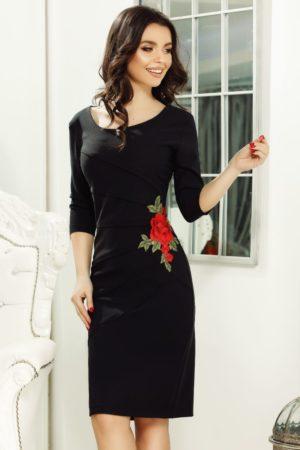 Rochie scurta neagra eleganta cu broderie florala Ryna