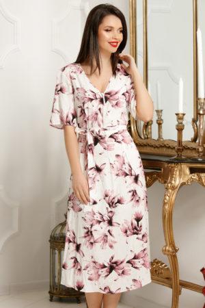 Rochie plus size alba midi de zi pentru vara cu imprimeu floral mov Selena