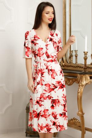 Rochie plus size alba midi de zi pentru vara cu imprimeu floral rosu Selena