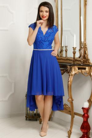 Rochie de seara albastru electric asimerica realizata din voal si bust de dantela delicata Serenity