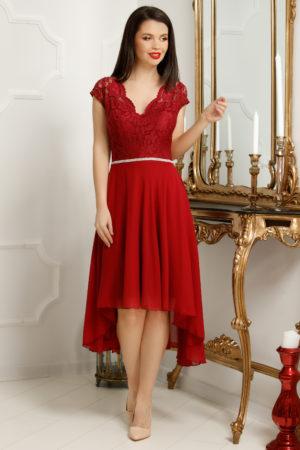 Rochie de seara rosu marsala asimerica realizata din voal si bust de dantela delicata Serenity
