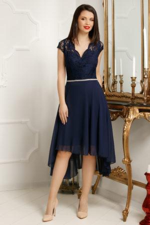 Rochie de seara bleumarin asimerica realizata din voal si bust de dantela delicata Serenity