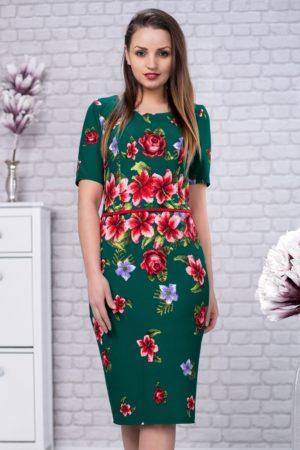 Rochie midi verde cu imprimeu floral colorat cu crapatura pe picior Tania