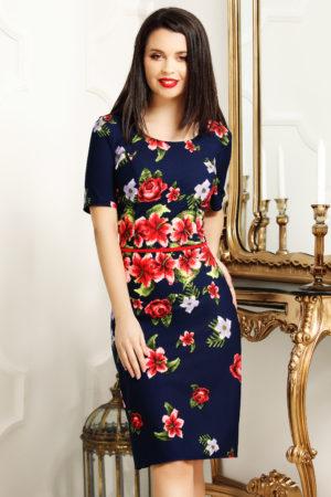 Rochie midi bleumarin cu imprimeu floral colorat cu crapatura pe picior Tania