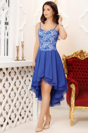 Rochie de seara albastra eleganta cu croiala asimetrica realizata din voal si dantela Valentina