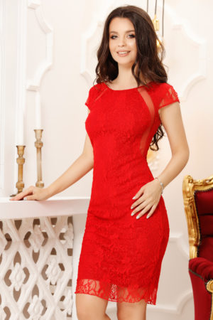 Rochie scurta rosie de ocazie ieftina confectionata din dantela elastica Yasmin
