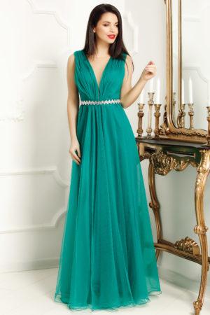 Rochie eleganta lunga verde stil printesa din tull diafan cu decolteu adanc in V Ania