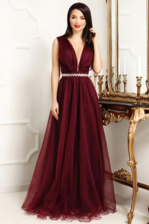 Rochie eleganta lunga mov stil printesa din tull diafan cu decolteu adanc in V Ania
