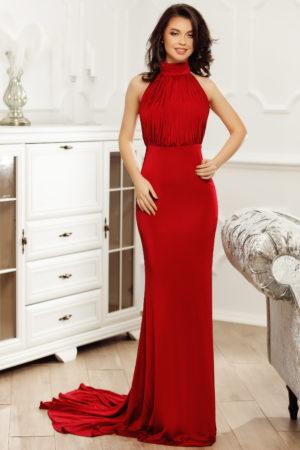 Rochie lunga rosie stil sirena cu spatele gol pentru tinute elegante de seara Aniko