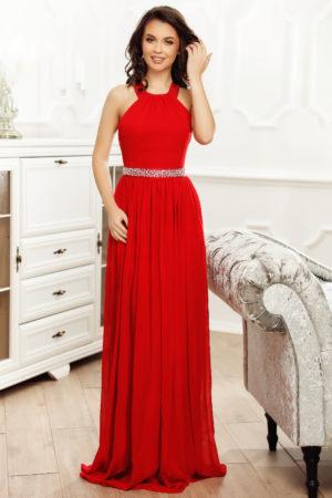 Rochie lunga rosie de seara decorata cu o banda cu pietricele in talie Consuelo
