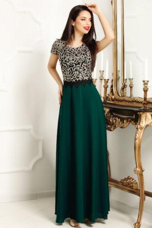Rochie lunga verde de seara eleganta cu insertii de dantela si satin in zona bustului Coralia