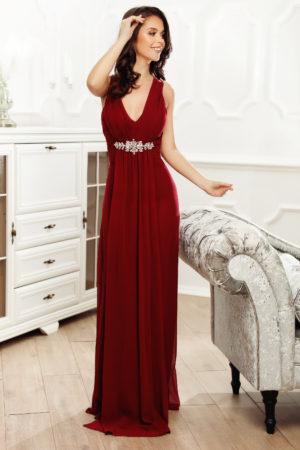 Rochie lunga bordo de seara eleganta cu decolteu in V si aplicatie decorativa in talie Desire