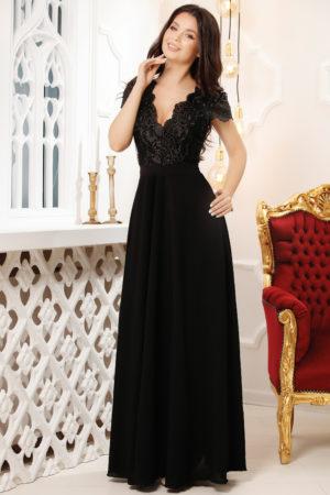Rochie de seara neagra lunga cu decolteu in V accesorizat cu broderie eleganta Ivona