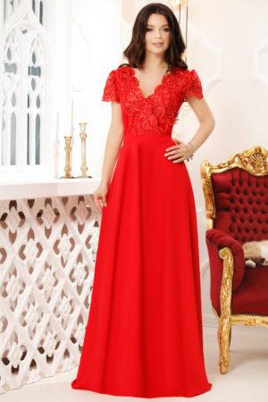 Rochie de seara rosie lunga cu decolteu in V accesorizat cu broderie eleganta Ivona