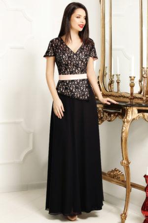 Rochie de seara lunga neagra cu dantela bej pentru femei plinute Jasmine