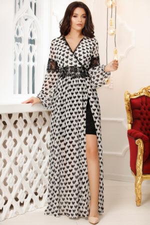 Rochie lunga alba cu imprimeu negru pentru tinute cochete de seara Kasia