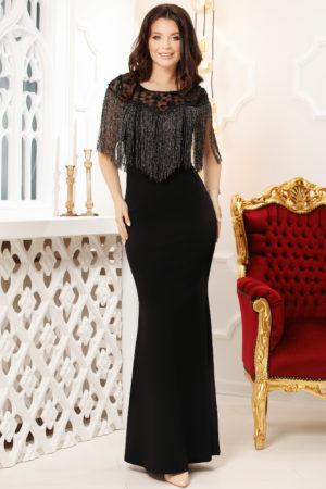 Rochie lunga neagra stil sirena de seara accesorizata cu franjuri si strass-uri Lizette