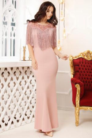 Rochie lunga roz stil sirena de seara accesorizata cu franjuri si strass-uri Lizette