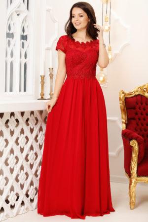 Rochie lunga rosie de seara cu broderie cu insertii stralucitoare la bust Marietta