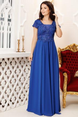 Rochie lunga albastra de seara eleganta cu bust brodat cu strass-uri Melia