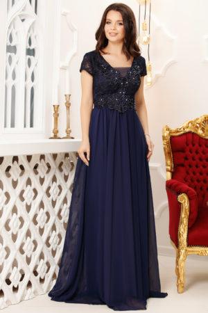 Rochie lunga bleumarin de seara eleganta cu bust brodat cu strass-uri Melia