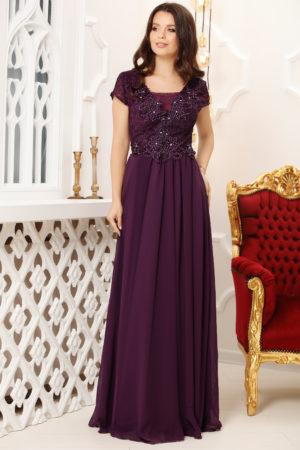 Rochie lunga mov de seara eleganta cu bust brodat cu strass-uri Melia