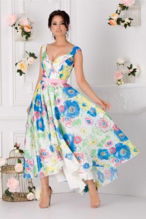 Rochie eleganta asimetrica realizata din organza alba cu flori multicolore si decolteu in forma de inima Adelia