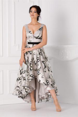 Rochie eleganta asimetrica realizata din organza gri cu fluturi si decolteu in forma de inima Adelia